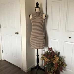 Sleeveless tan cowl neck tunic